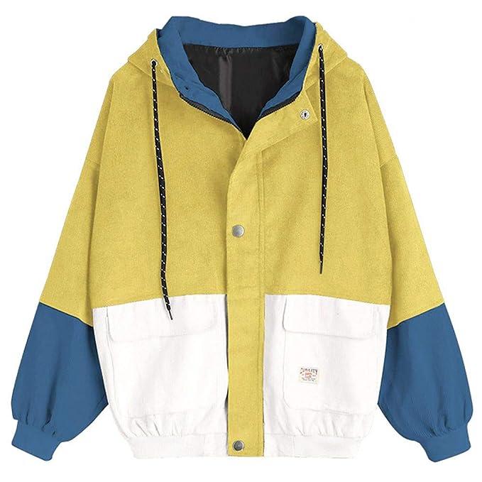 kingko® Coats Damen,Kimodo Mode Frauen Langarm Cord Patchwork Oversize Jacke  Windbreaker Mantel Frühling a7dc50f182