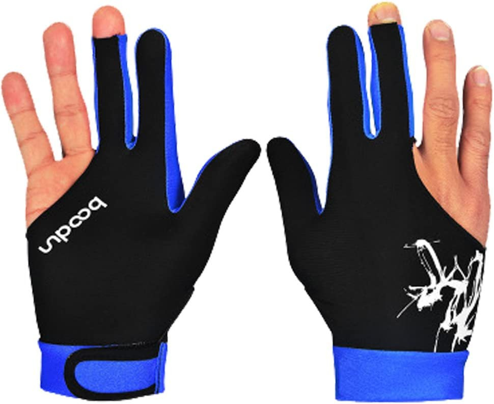 1 par profesional guantes de billar snooker Cue Shooters guantes hombres mujeres guantes de lycra para hombre y mujer, color azul oscuro, tamaño L: Amazon.es: Deportes y aire libre