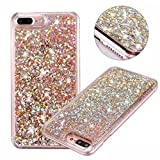zebra print phone accessories - iPhone 7 Plus Glitter Case, NOKEA hard Rubber Flowing Liquid Floating Luxury Bling Glitter Sparkle Flexible Protective Shell Bumper Case Cover for iPhone 7 Plus 5.5inch (Rose Gold#6)