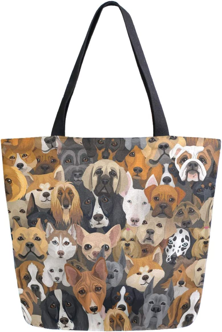 ZzWwR Cute Dogs Extra Large Canvas Beach Travel Reusable Grocery Shopping Tote Bag Market Portable Storage HandBags