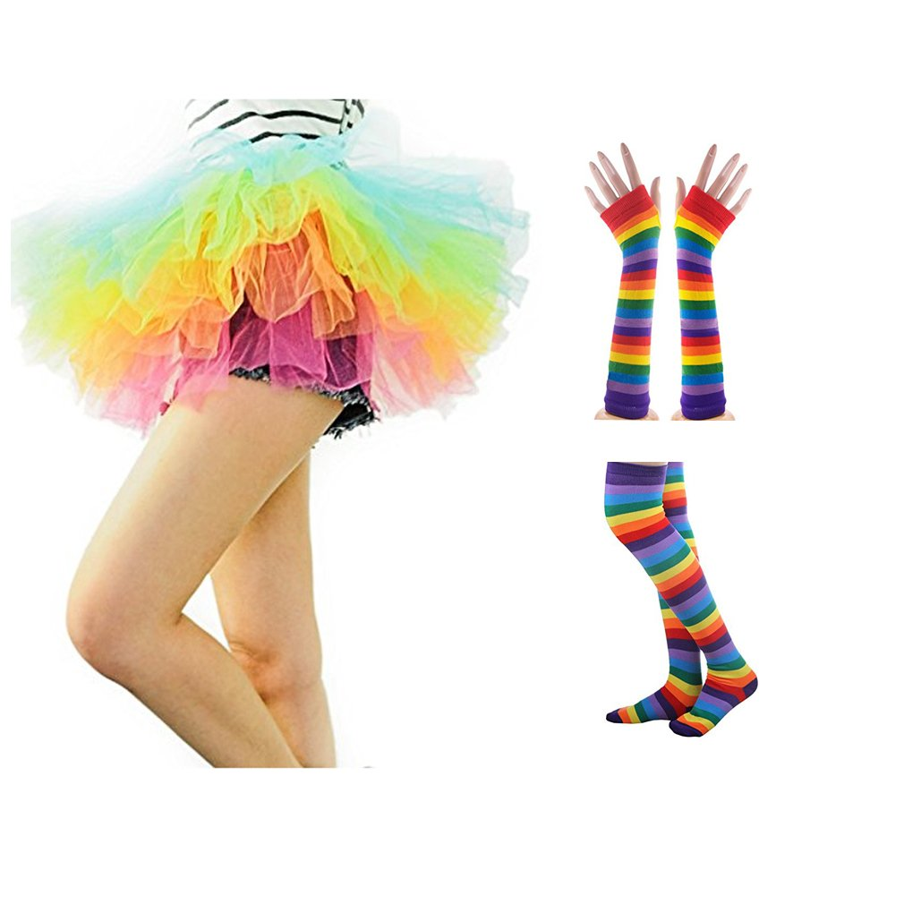 Navadeal Colorful Rainbow Stripes Knit Stockings or Gloves, Perfect for Halloween Costume, Fun Party, Cosplay Performance,Show and Holiday Gift