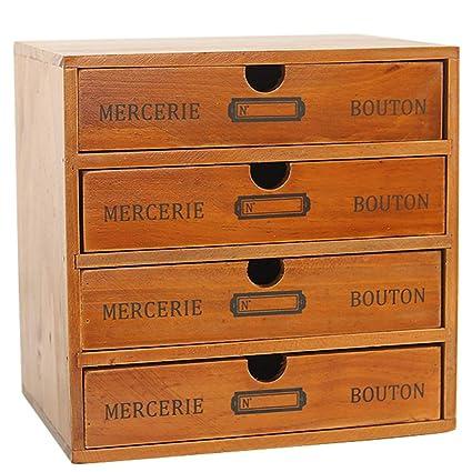 Baffect Caja de Almacenamiento con cajones de Madera Caja de cajones Vintage de 1 Piso Caja de joyería Caja de Madera con Organizador de cajones Mesa ...