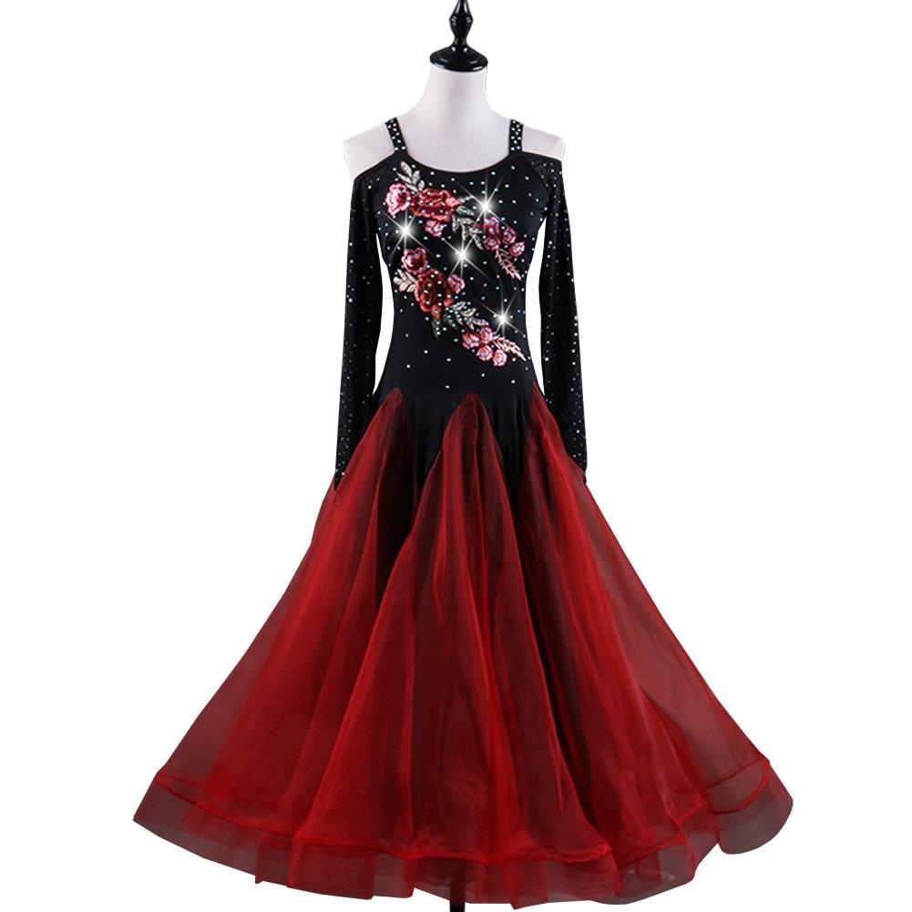 55c18511fd135 FERE8890 レディース ダンス用衣装 チューブ ワンピース 刺 手作りの花 長袖 着やせ 大振り子