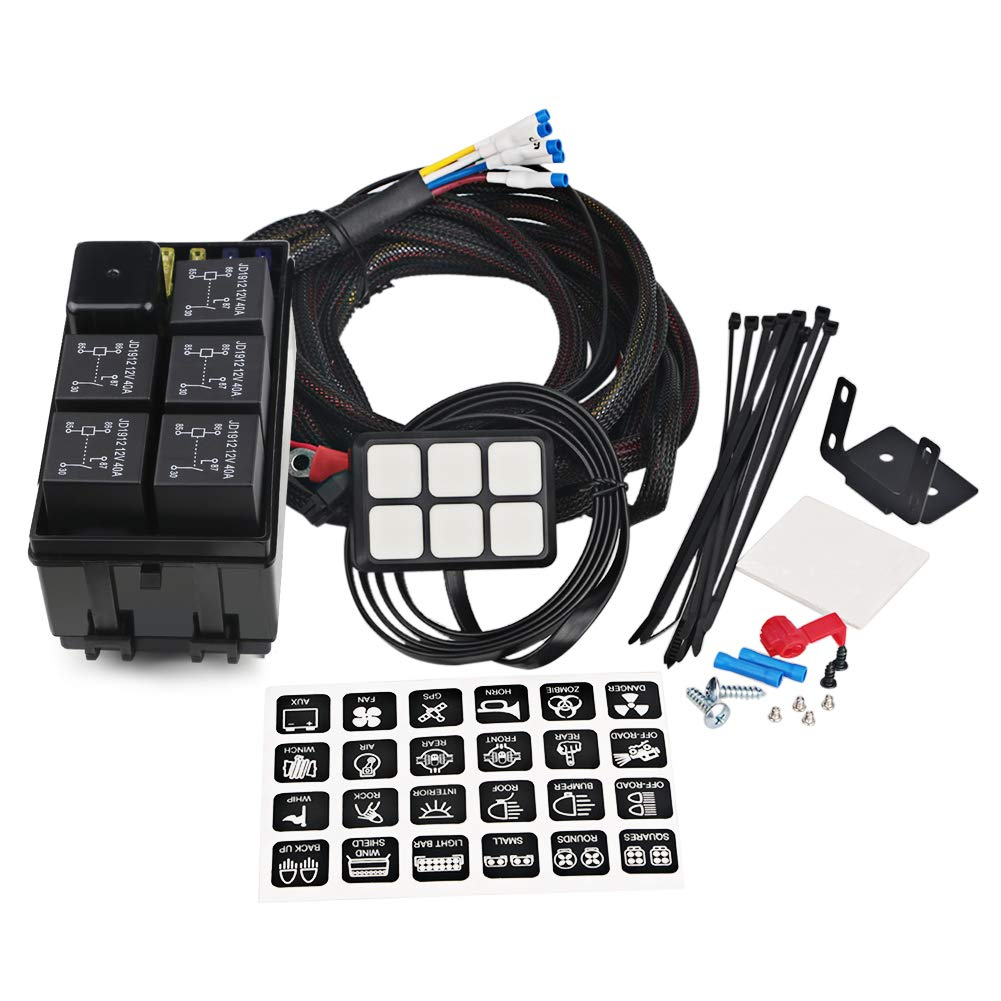 waterwich 6 gang switch panel electronic relay system circuit control box  waterproof fuse relay box wiring harness assemblies for car auto truck boat  marine (universal 6 gang button switch panel)- buy online  desertcart