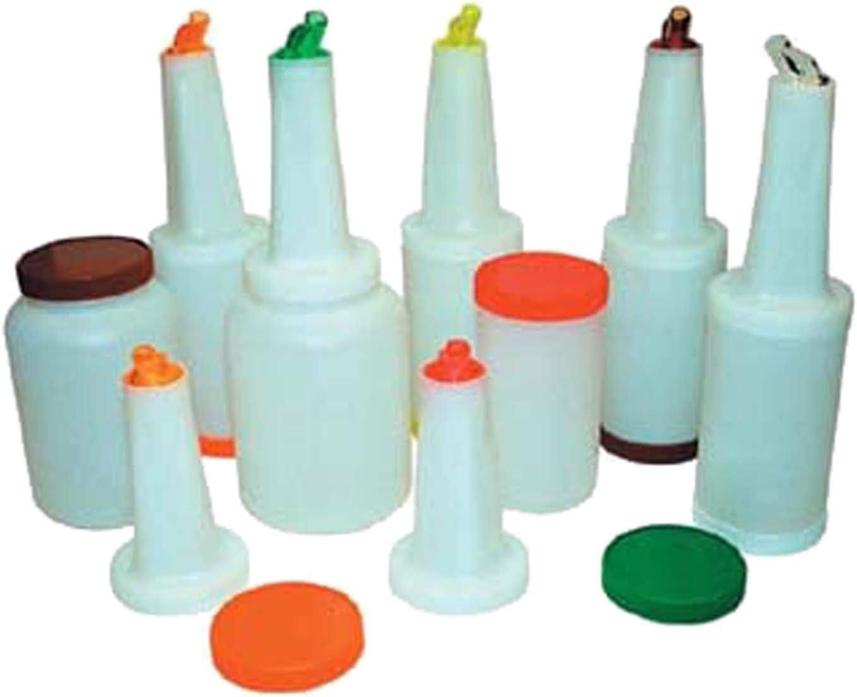 Winco PPB-2O 2-Quart Liquor Juice Pour Bottle with Orange Spout Lid