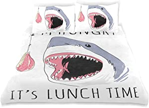 LONSANT Shark Duvet Cover Set Shark Feeding Cartoon Slogan Design Bedding Decoration King Size 3 PC Sets 1 Duvets Covers with 2 Pillowcase Microfiber Bedding Set Bedroom Decor Accessories