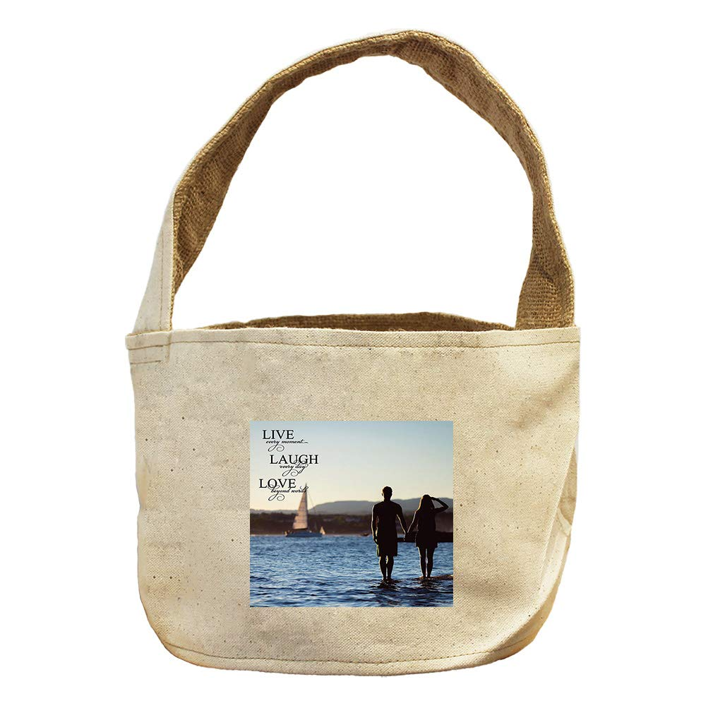 Live Every Moment Every Day in The Beach Canvas and Burlap Storage Basket
