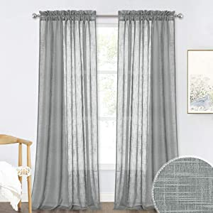 RYB HOME Grey Sheer Curtains - Linen Textured Curtains Sheer Privacy Drapes Soft Light Filtering for Bedroom Home Office Foyer Living Room Window Decor, Deep Grey, Wide 52 x Long 120, 1 Pair