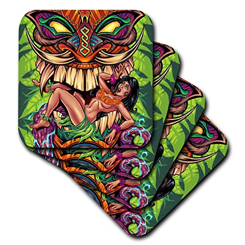 - 3dRose Flyland Designs - Tiki, Design, Illustration, dark - a tiki head design with bikini girl - set of 8 Coasters - Soft (cst_295929_2)