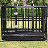 Sliverylake XL 37″ Dog Cage Crate Kennel – Heavy Duty Rolling Pet Playpen Exercise Pan with Tray