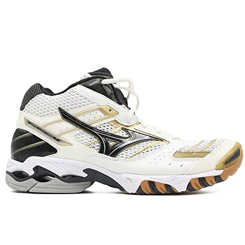 Mizuno Zapatillas de Voleibol de Material Sintético Para Hombre Blanco White/Black/Gold Blanco Size: 43: Amazon.es: Zapatos y complementos