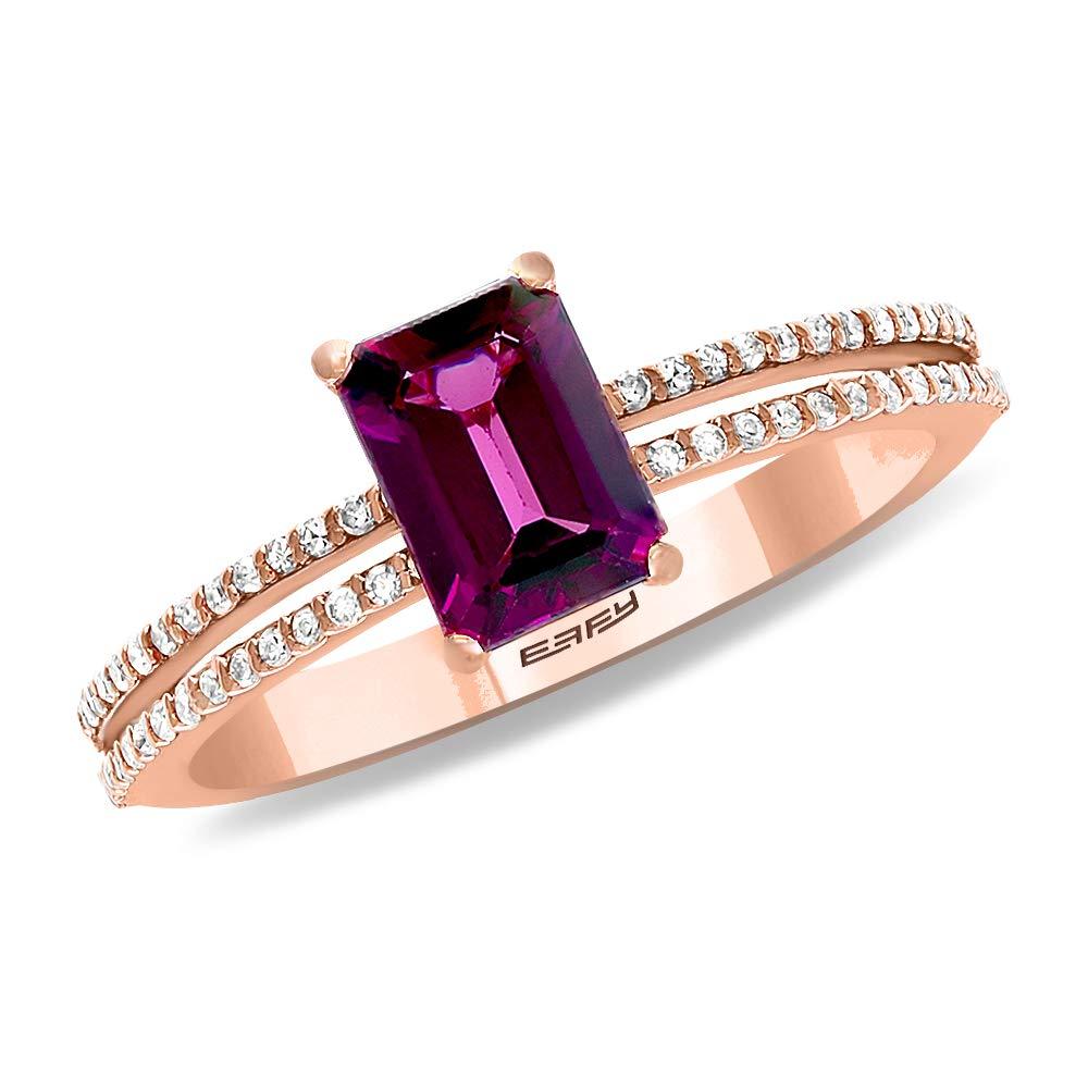 EFFY 14K ROSE GOLD DIAMOND,RHODOLITE RING by EFFY
