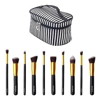 Professional Make Up Artists Set Including 10pcs Various Kabuki Makeup Brushes With Natural Wooden Handles And