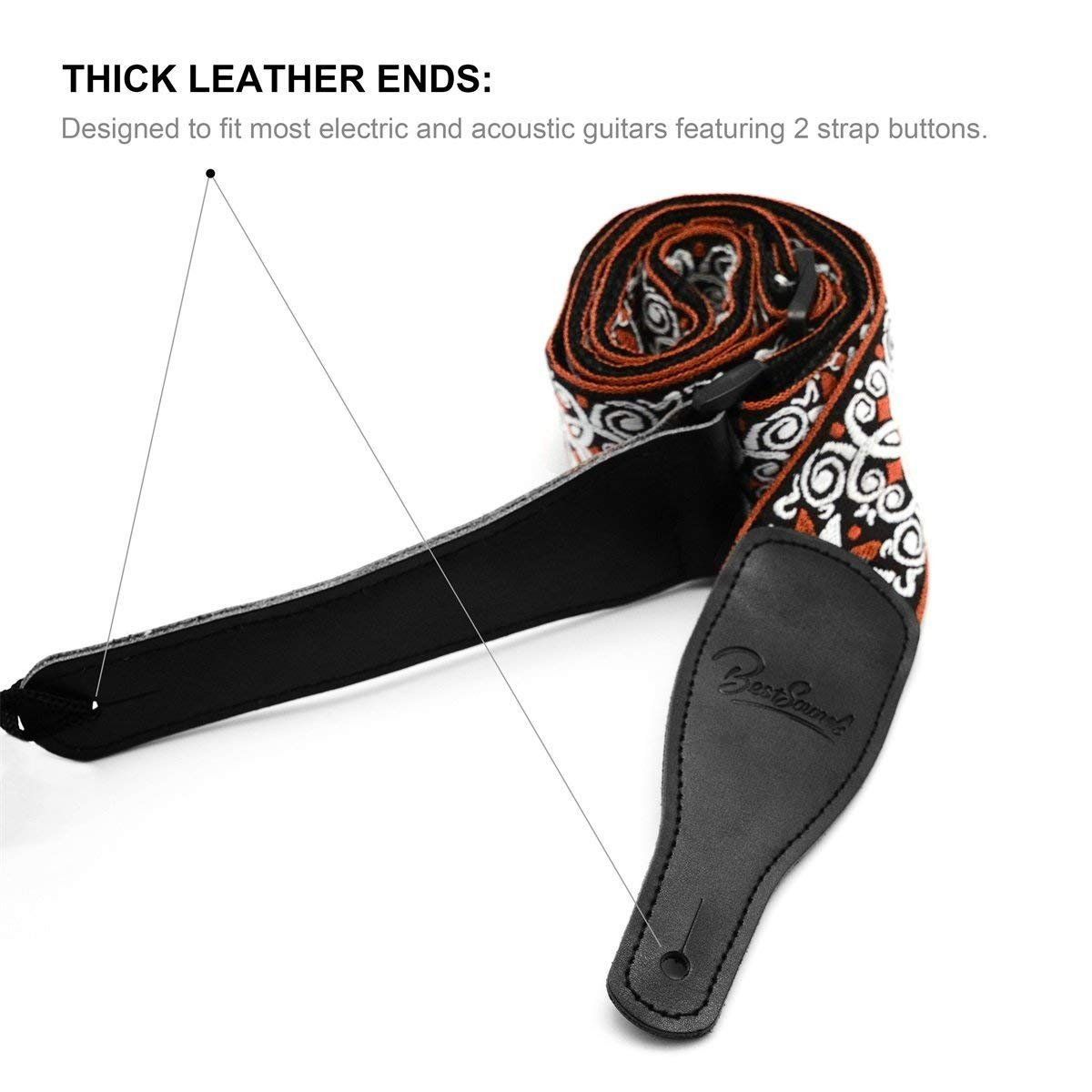 Orange Electric,Acoustic Guitars Guitar Strap Vintage Hootenanny Jacquard Weave /& Genuine Leather End Suitable for Bass