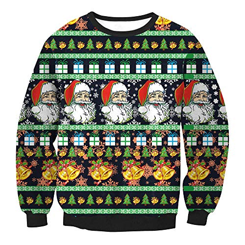 Christmas Womens Sweater Duseedik Santa Claus Small Bell Print Pullover Long Sleeves Tops Blouse Tunic