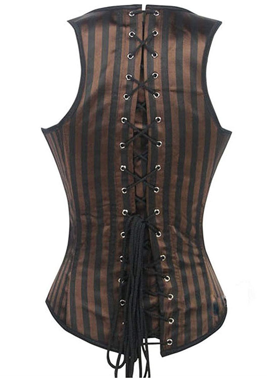 SHAPERX Womens Steel Boned Steampunk Tesla Underbust Corset Vest Waist Training Corsets Vest