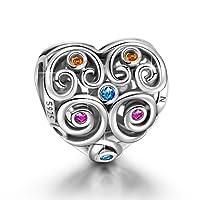 NINAQUEEN Abalorios Charms para Mujer Amor Eterno Plata de ley 925 Corazón con 5A Circonita Multicolor, Regalos de Navidad, Envases de Regalo para Cada Momento Especial
