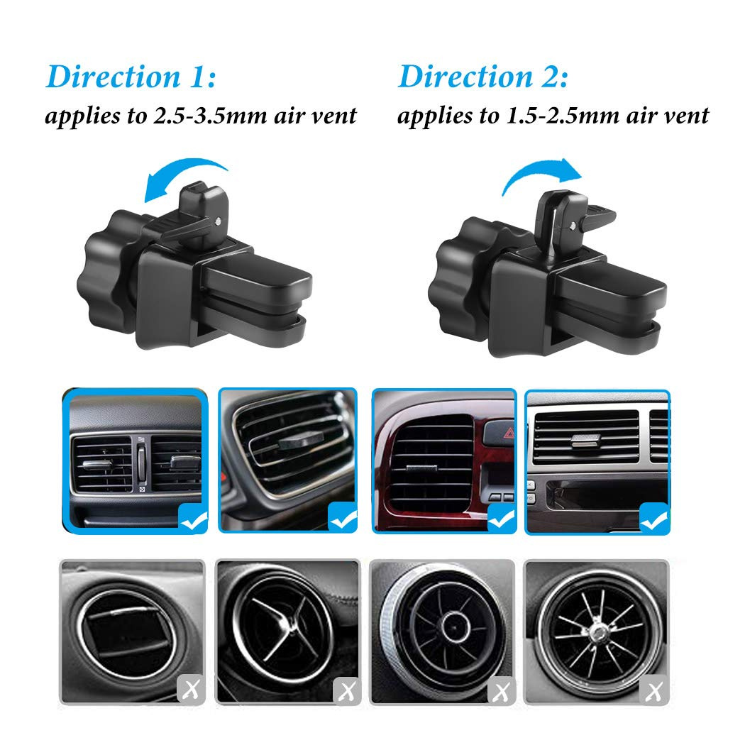 Besiva 2-Pack Universal Air Vent Phone Holder for Car with Adjustable Car Phone Holder Cradle for iPhone Xs Max//XS//XR//X//8//8Plus//7//7Plus//6s//6Plus//5S Car Phone Mount Galaxy S6//S7//S8//S9 and More Jhz3