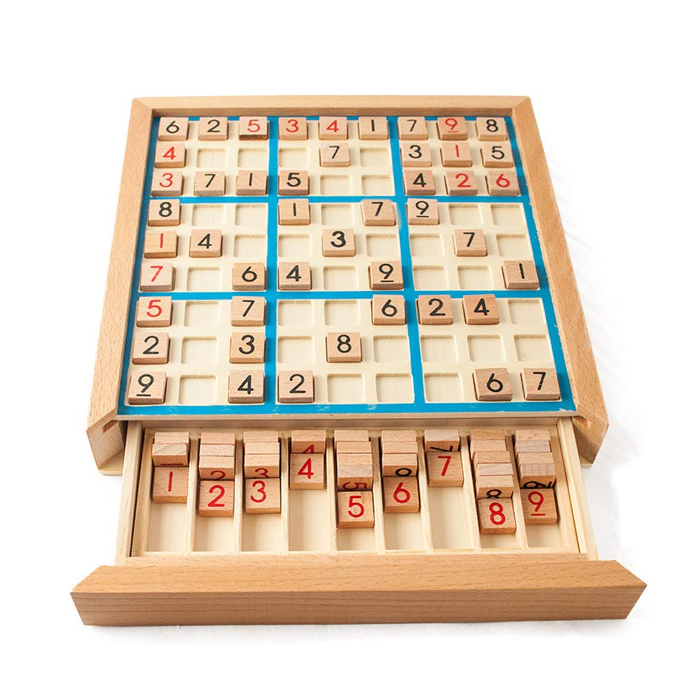 Wooden Sudoku Board Game with Drawer Number Puzzle Parent-Child Action Kids Logical Developmental Intelligence Educational Toy by Agyvvt