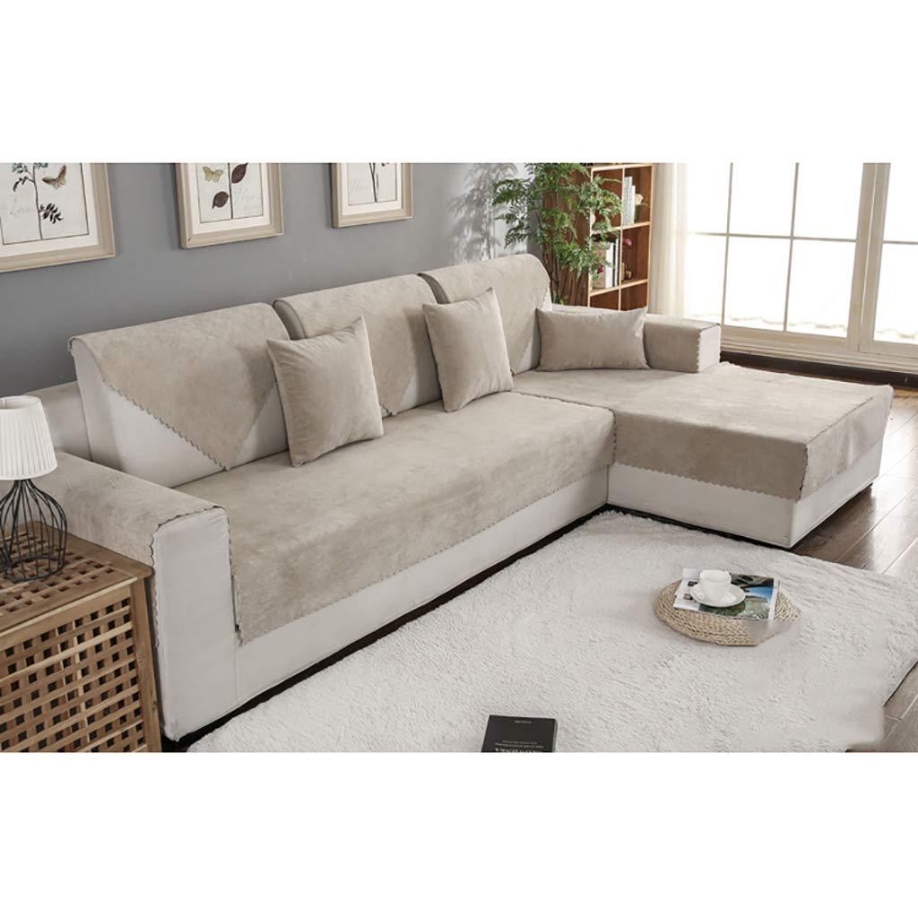 TT&CC Funda de sofá de Felpa,Orina Impermeable Antideslizante para Mascotas Perro bebé sofá Protector Color sólido salón combinación sofá Toalla -D ...