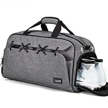 748d9f0e60b3 Gym Duffel Bag Sports Travel Tote Bag Overnight for Men and Women with Shoe  Compartment, Wet Pocket, Water Resistant (Grey)