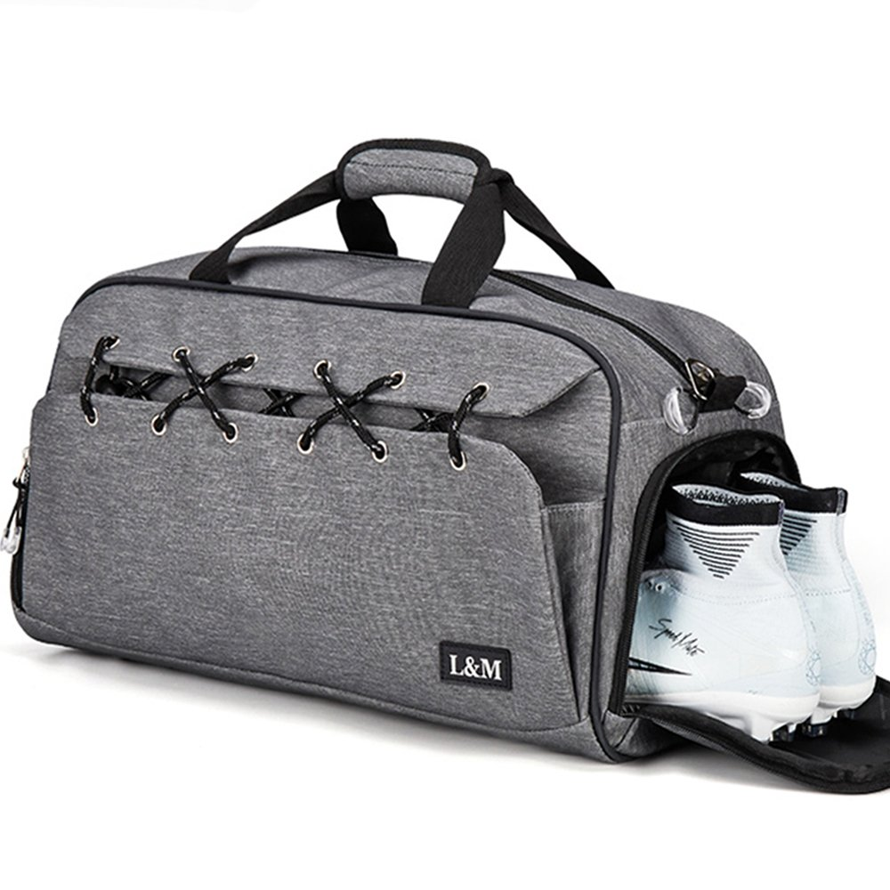 BLUBOON Gym Duffel Bag Sports Travel Tote Bag Overnight for Men and Women with Shoe Compartment, Wet Pocket, Water Resistant (Grey) by BLUBOON