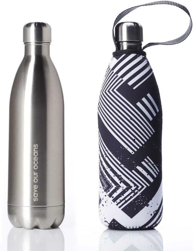 BBBYO Premium - Botella de agua de acero inoxidable con aislamiento de doble pared + funda protectora para bolsa de transporte, disponible en tamaños de 17 oz, 25 oz y 34 oz