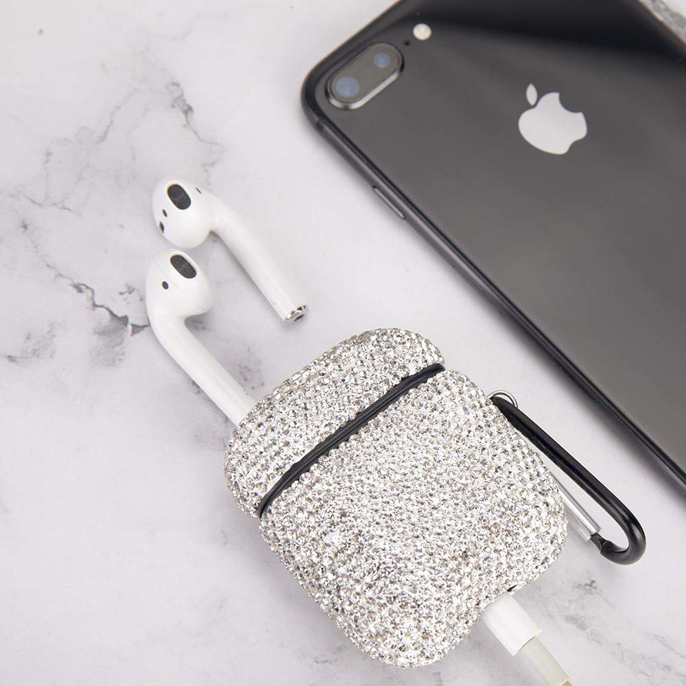 White MOLOVA Bling Airpods Case,Shining Diamond Rhinestone AirPods Case Shock Proof Cover Compatiable with Apple AirPods Wireless Charging Case with Keychain