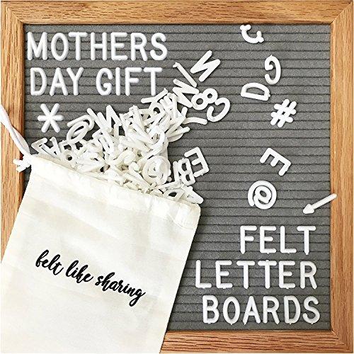 Gray Felt Letter Board 10x10 Inches. Changeable Letter Boards Include 300 White Plastic Letters & Oak Frame. ()