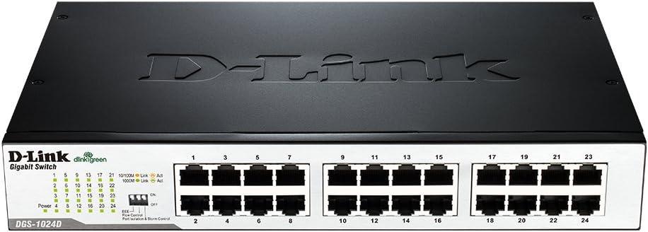 D-Link Fast Ethernet Switch, 24 Port Gigabit Unmanaged Fanless Network Hub Desktop or Rack Mountable (DGS-1024D)
