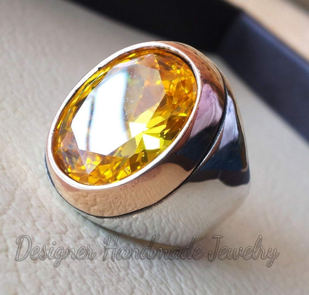 citrine mans ring oval gemstone ring sterling silver 925 two tone ring huge men ring jewelry ottoman style all sizes statement ring Brilliant aaa