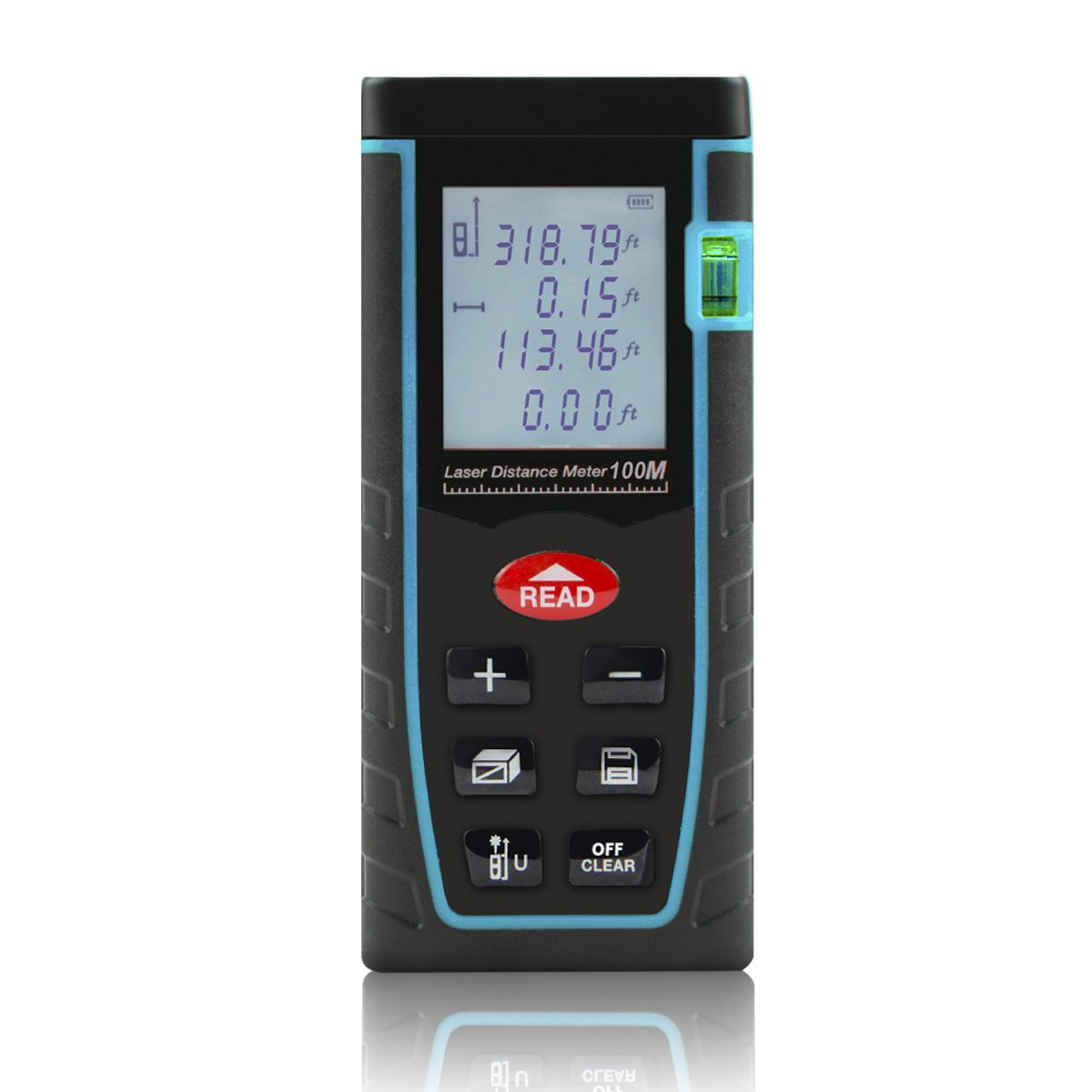 Shentec Laser Distance Measure, 328ft Handheld Digital Measure Device with Pythagorean Mode, Area & Volume Calculation Laser Tape Measure Rangefinder (2xAAA batteries included)