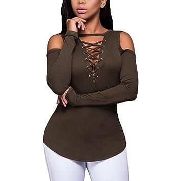 89d7d99732c Amazon.com  Kimloog Women Sexy Long Sleeve Cold Shoulder Blouse Deep ...