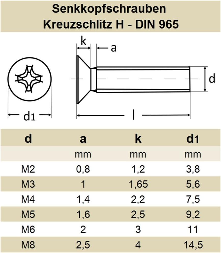 Kreuz rostfrei | Senkschrauben DERING Senkkopfschrauben M2x20 mit Kreuzschlitz H DIN 965 Edelstahl A2 100 St/ück