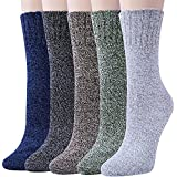 5 Pairs Womens Winter Soft Warm Wool Knitting Cotton Casual Crew Socks