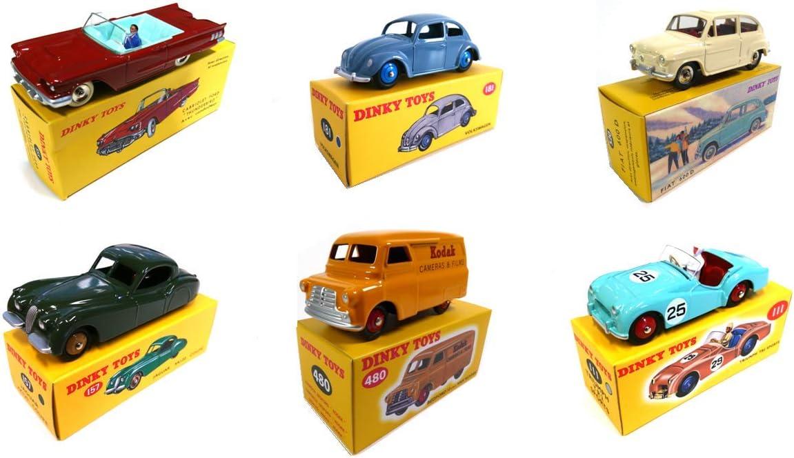 OPO 10 - Lote de 6 Autos Norev para DeAgostini Dinky Toys: Triumph TR2 + Bedford Van Kodak + Fiat 600D + Jaguar XK120 + Ford Thunderbird + Beetle