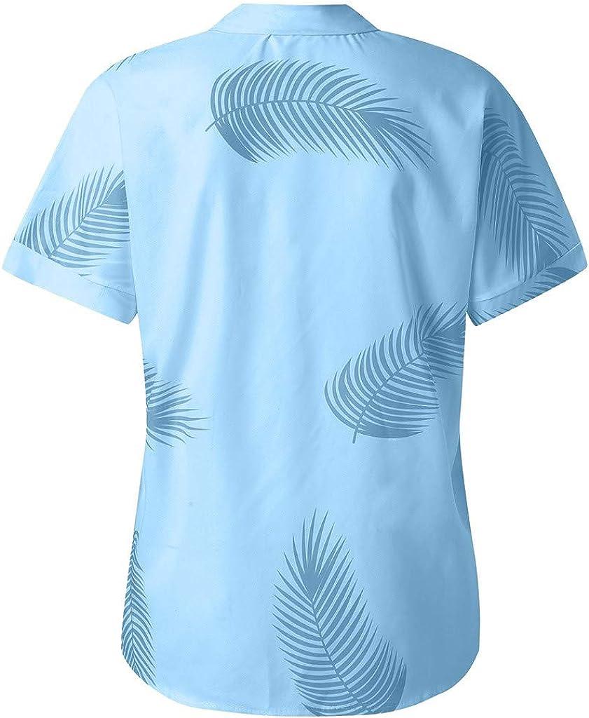 Berimaterry Damen Kurzarm Sommershirt Casual Print Strand Tunika Bluse Shirts Gro/ße Gr/ö/ßen Revers Knopf Sommer Hemd Kurz/ärmliges Oberteil