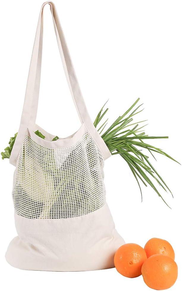 LWAN3 Bolsa de compras con cuerdas de red, bolsa de algodón orgánico, organizador portátil reutilizable para la compra de frutas y verduras, 30 x 32 x 38 cm: Amazon.es: Hogar