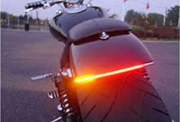 freesoo motorcycle tail brake stop led turn signal light strip 12v  waterproof 32smd universal flexible license