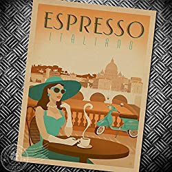 Deco Space Vintage Retro Kraft Paper Poster - Espresso Italiano - Creative Unframed Indoor Art Wall Decoration 42 x 30 cm / 16.5 x 12 inches