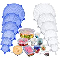 TECHVIDA Stretch Silicone Covers, 12 Packs of Different Sizes Silicone Cover for Foods, Reusable and Expandable Covers…