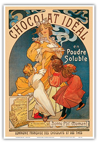 Pacifica Island Art - Chocolat Ideal Cocoa Cacao - Vintage Advertising Poster by Alphonse Mucha c.1890's - Master Art Print - 13in x 19in