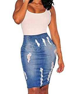 3a1e96dee84b USGreatgorgeous Womens High Waist Distressed Ripped Denim Short Jean Skirts  Package Hip Mini Skirts