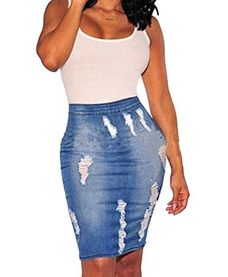 c7006bbae USGreatgorgeous Womens High Waist Distressed Ripped Denim Short Jean Skirts  Package Hip Mini Skirts (S