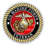 US Marine Corps Veteran Sticker for Cars Trucks for Honor and Support of Our Troops Vinyl Window Bumper 4 x 4 inch
