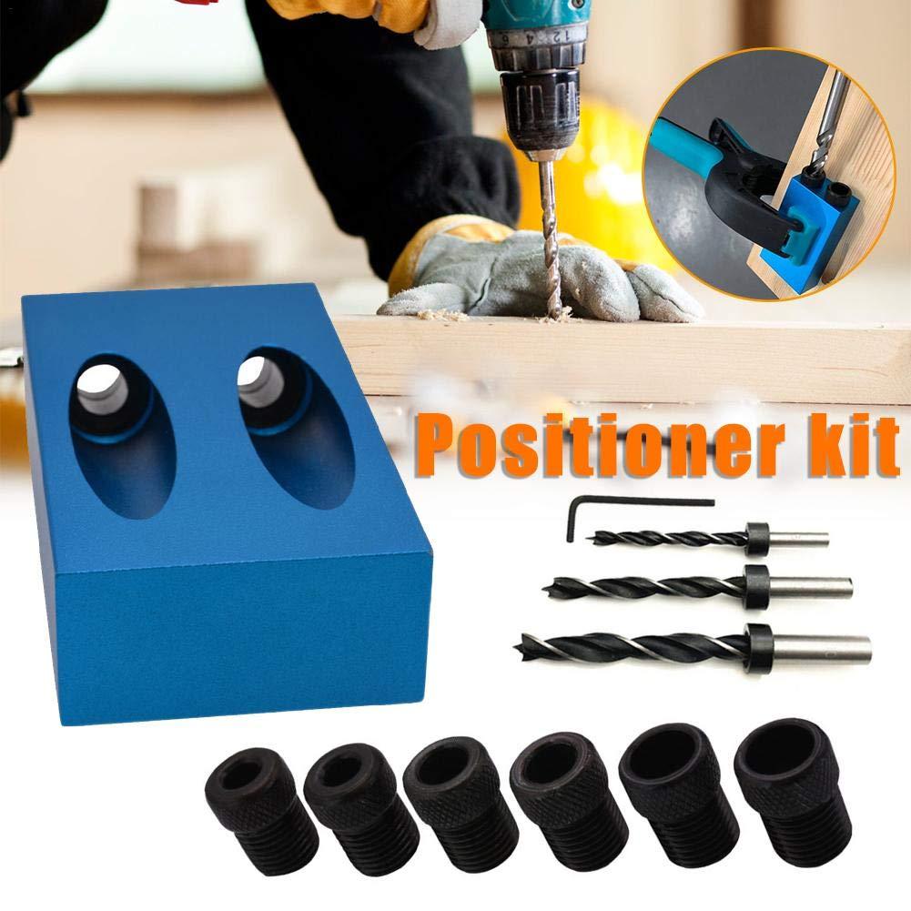 Ausomely Doppel Pocket Loch Jig Kit 6//8//10mm 15 /° Bit Winkelantriebsadapter f/ür Holzbearbeitung Winkel Bohren L/öcher Guide Taschenloch-Bohrvorrichtung Werkzeuge f/ür Holzbearbeitung