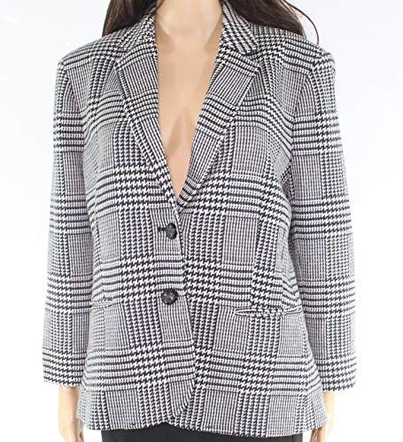 - Lauren by Ralph Lauren Jacket Womens White Blazer Houndstooth Black 14
