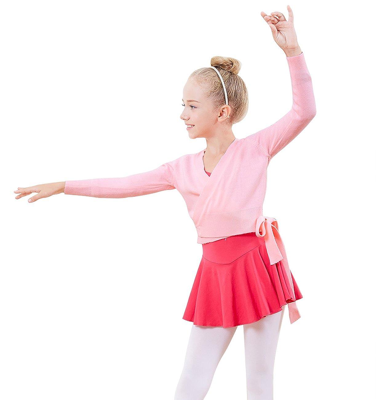 PINKDAA Kids Girl Dance Sweater Ballerina Long Sleeve Knit Wrap Top Ballet Cardigan