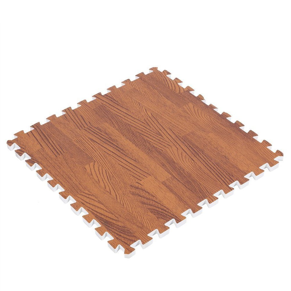 10Pcs Wood Grain Interlocking Foam Mats Interlocking Floor Mats Puzzle Floor Mat Interlocking Puzzle Wood Mat Eva Interlocking Tiles Protective Flooring Mat Gym Exercise Mat Kids Playroom Play Mats WElinks