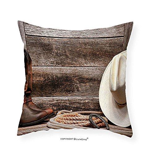 "VROSELV Custom Cotton Linen Pillowcase Western Decor Americana Rodeo Fashion White Straw Hat Original Lariat Lasso and on Barn for Bedroom Living Room Dorm Tortilla Brown 20""x20"""